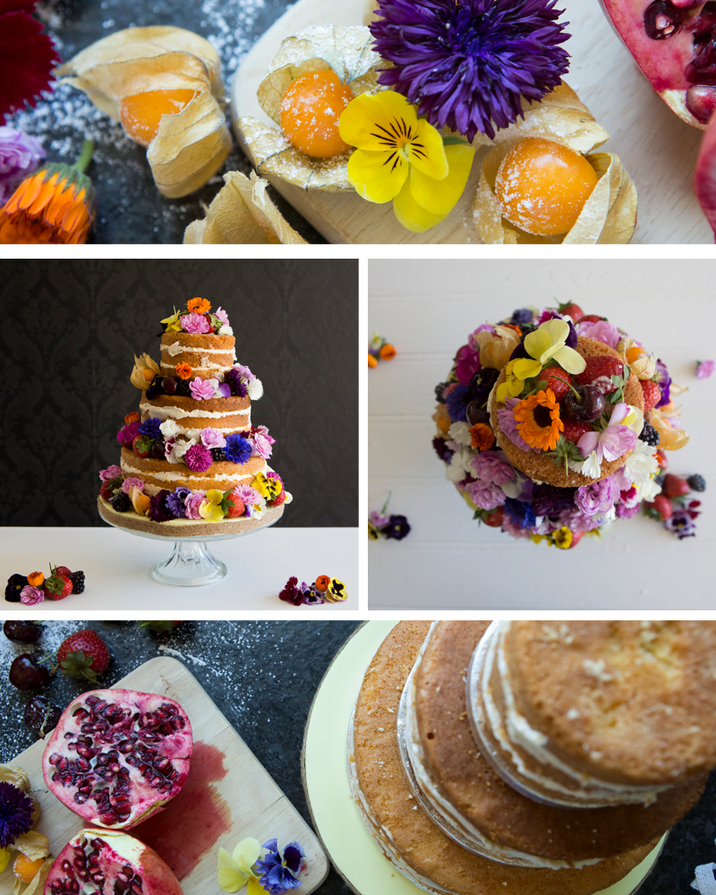 Nearly Naked Wedding Cakes filled with Buttercream and Fresh Fruit