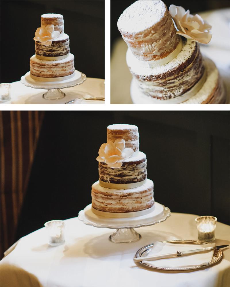 Nearly Naked Buttercream Wedding Cake with Single White Rose