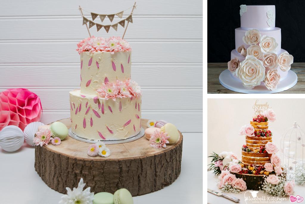 Buttercream and fondant wedding cake at Bluebell Kitchen