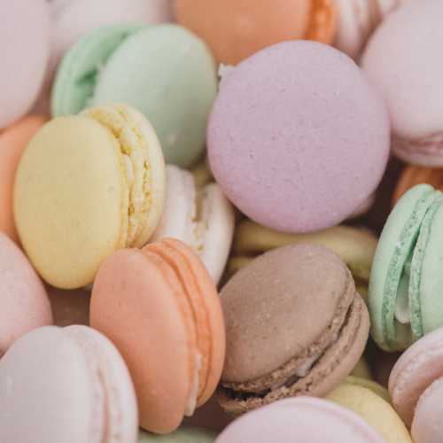 Selection of pastel macarons