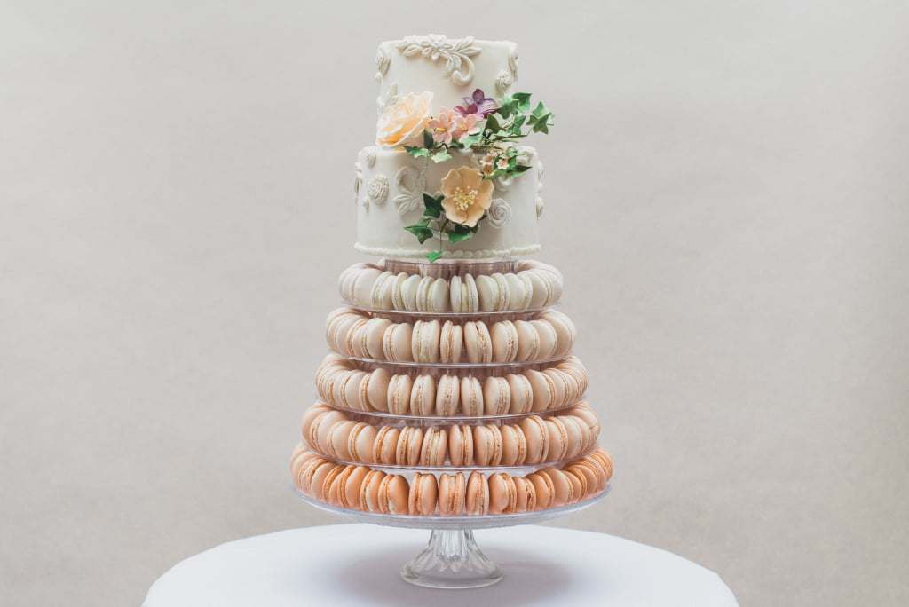 Bluebell Kitchen Peach Ombre Macaron Tower with Top Tier
