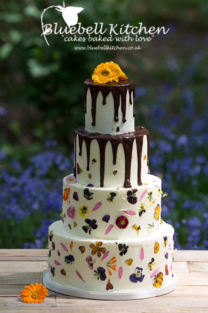 Bluebell Kitchen Edible Flowers Chocolate Drip Wedding Cake