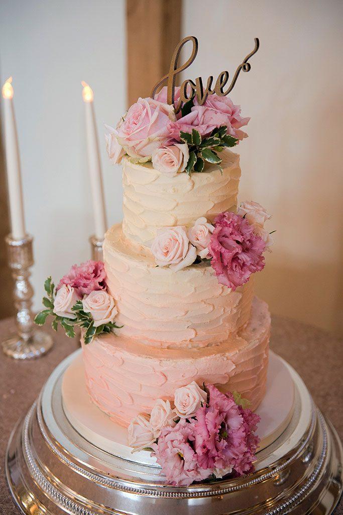 Bluebell Kitchen fresh roses textured buttercream wedding cake