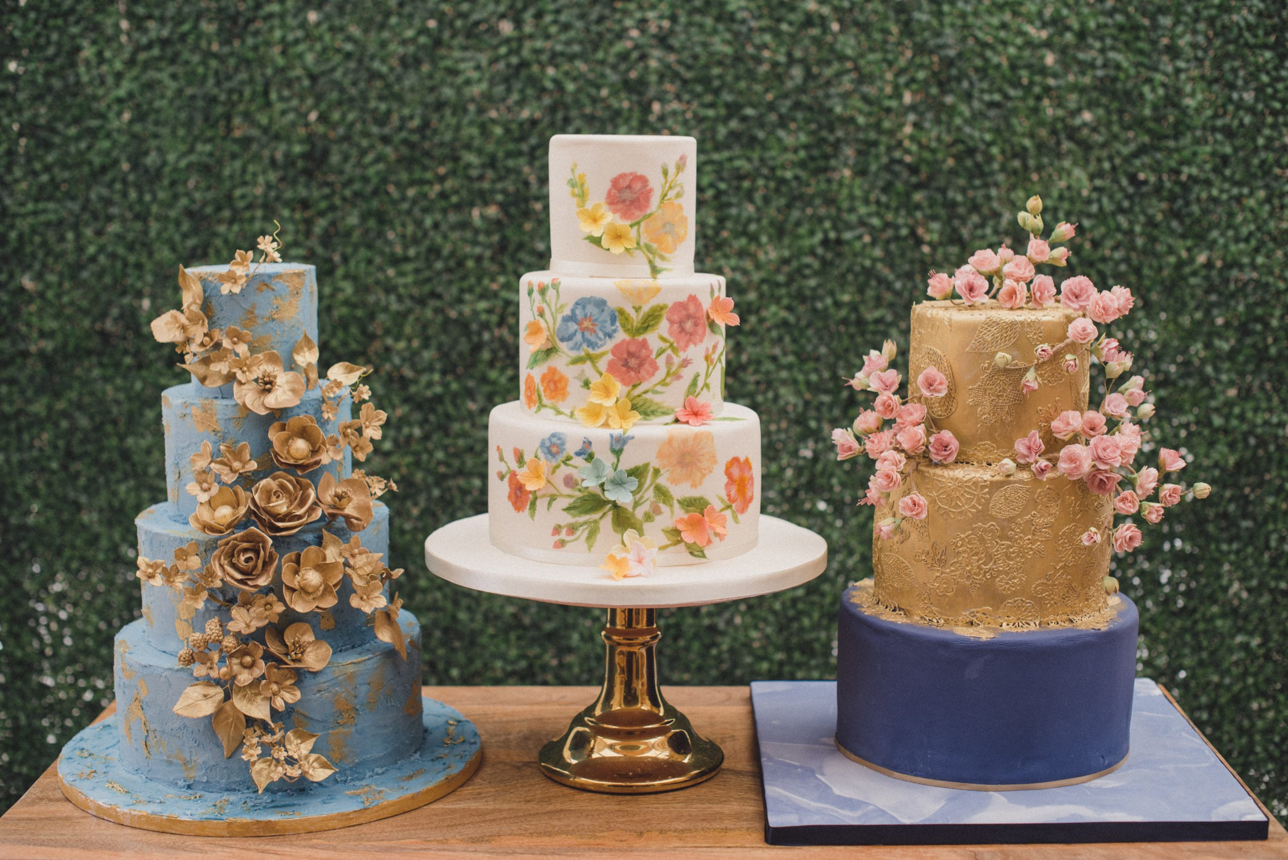 Bluebell Kitchen gold wedding cakes