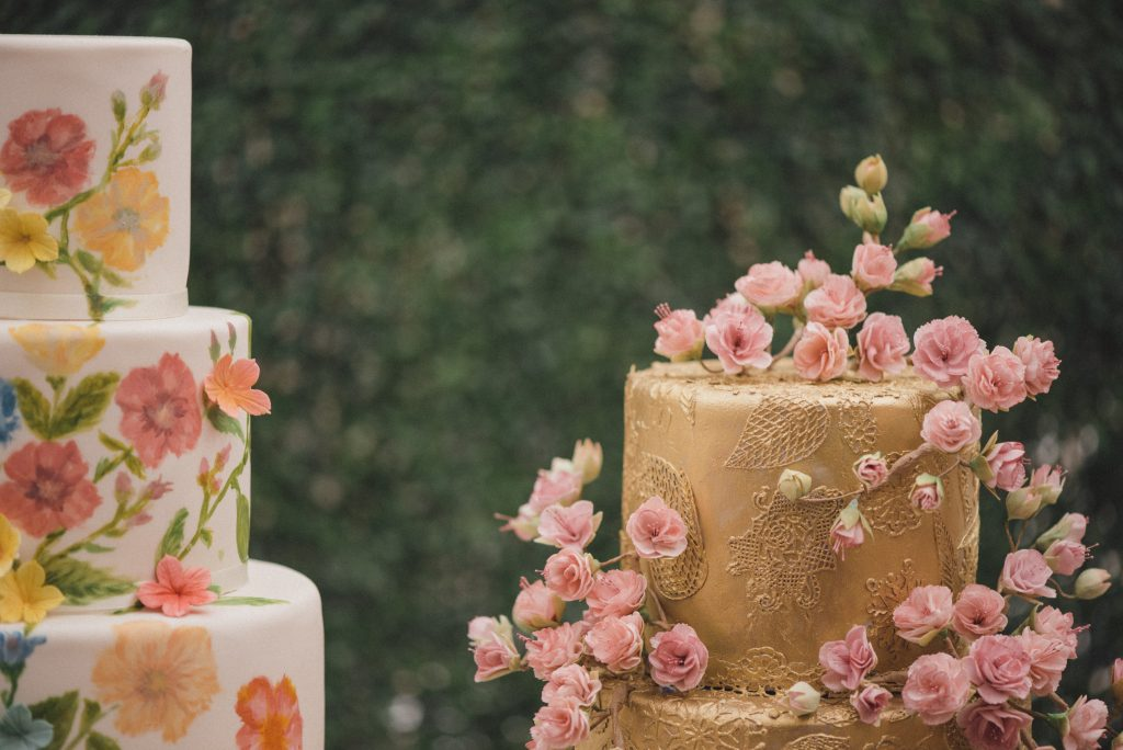 Bluebell Kitchen cherry blossom and painted wedding cakes