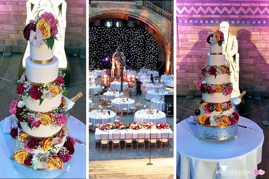 Bluebell Kitchen wedding cake at the Natural History Museum