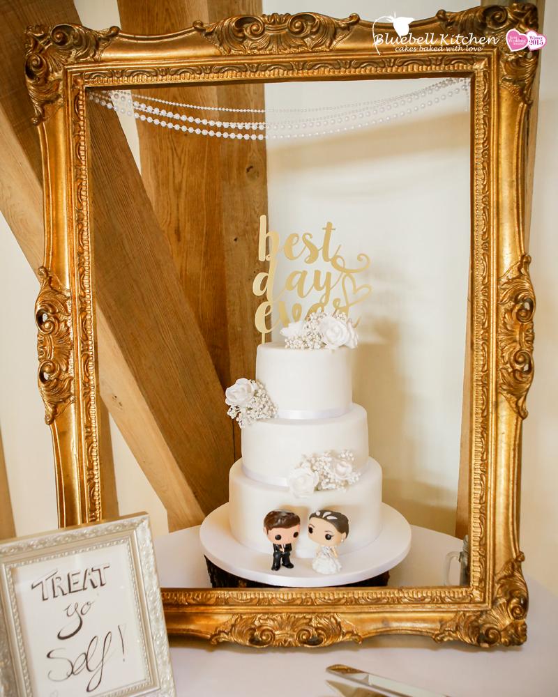 White on White wedding cake designed by Bluebell Kitchen