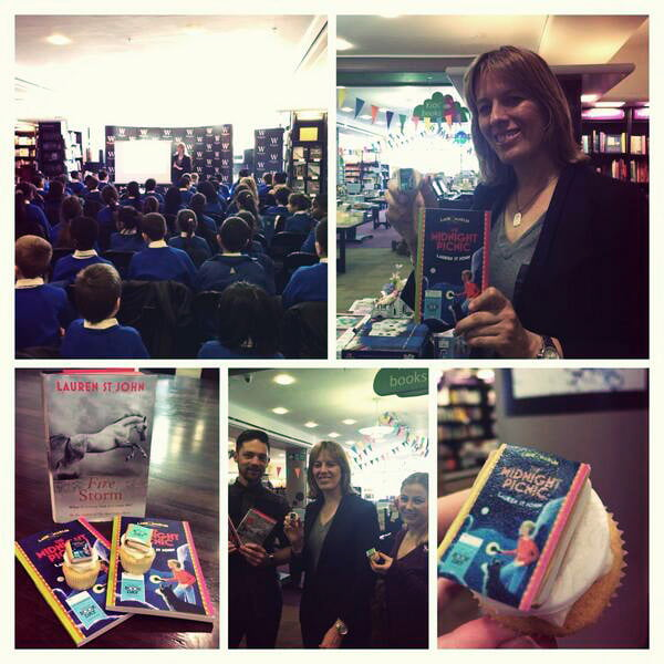 World Book Day 2014, Waterstones Piccadilly with Lauren St John ( & Bluebell Kitchen cupcakes). Photo by kind permission of Nina Douglas