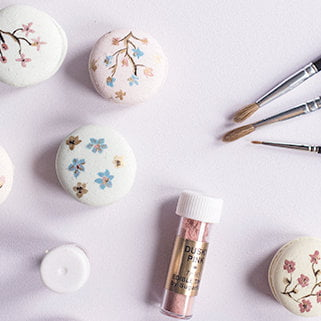Hand painted macarons as part of Bluebell Kitchen's cake classes in Kent