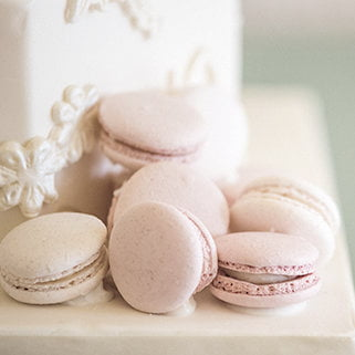 Blush pink macarons designed by Bluebell Kitchen