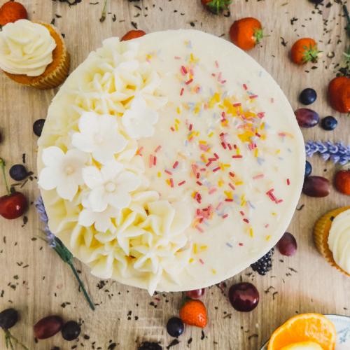 Vanilla buttercream sponge with sprinkles