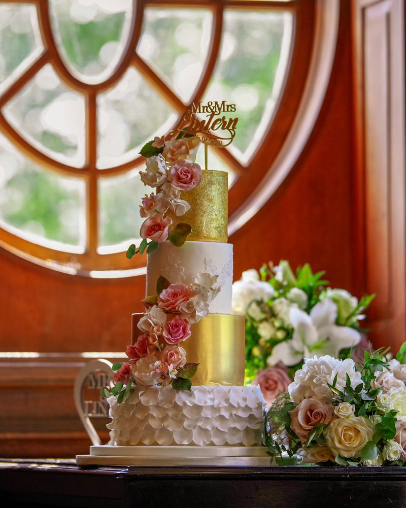 Gold, Lace and Pastel Pink Sugar Flower 4 tier Wedding Cake at Bradbourne House