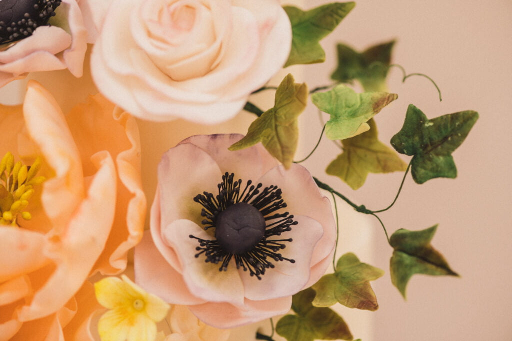 Handmade sugar flowers peonies, roses and anemones by Bluebell Kitchen