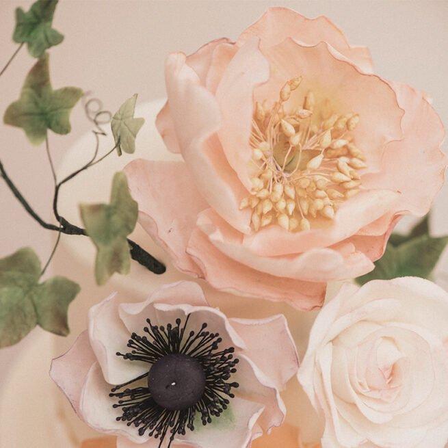 Handmade sugar pastel peach peonies and hint of lilac anemone