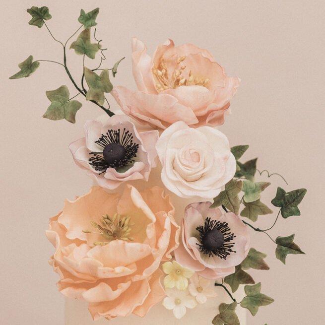 Sugar roses, peonies and anemones in close up
