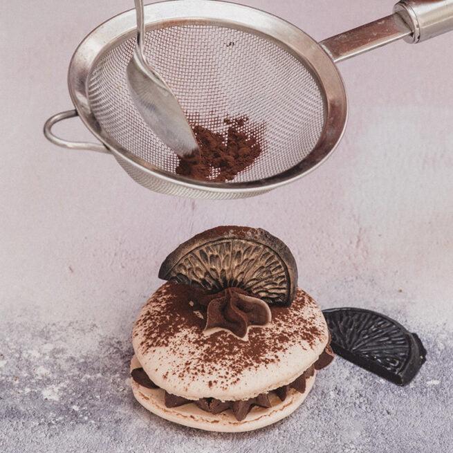 Selection of handmade giant gourmet macarons