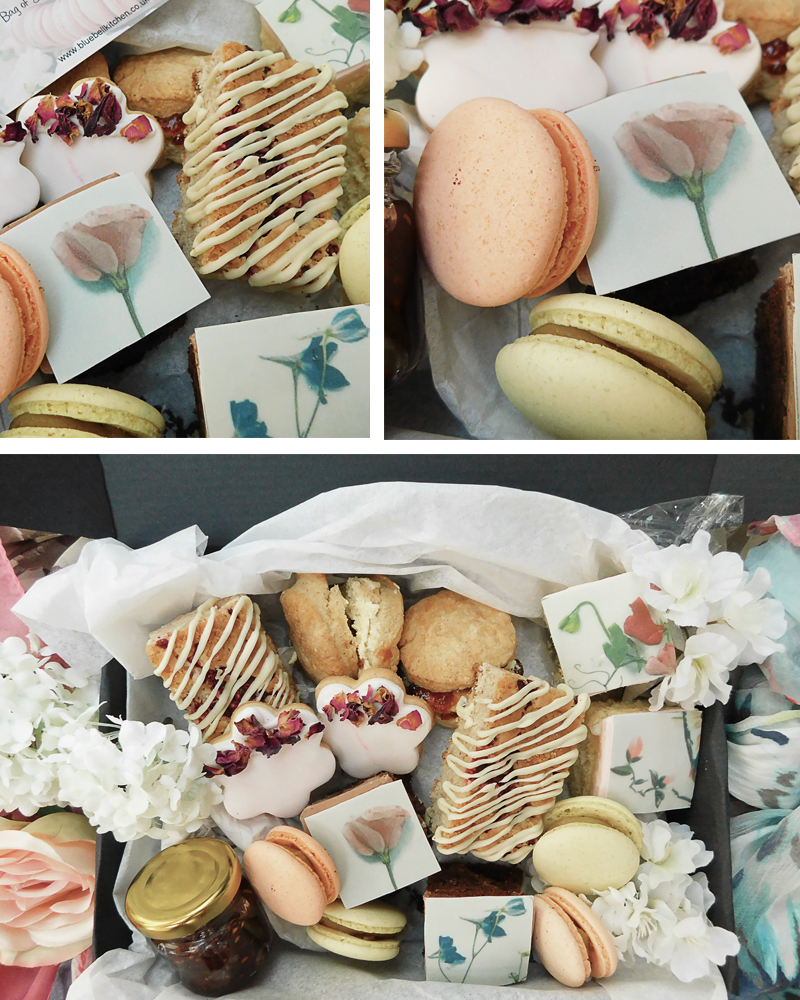 Mother's Day Afternoon Tea Treats including blondies, lemon sponge, macarons, scones, homemade jam, vanilla and edible biscuits perfect Mother's Day gift ideas
