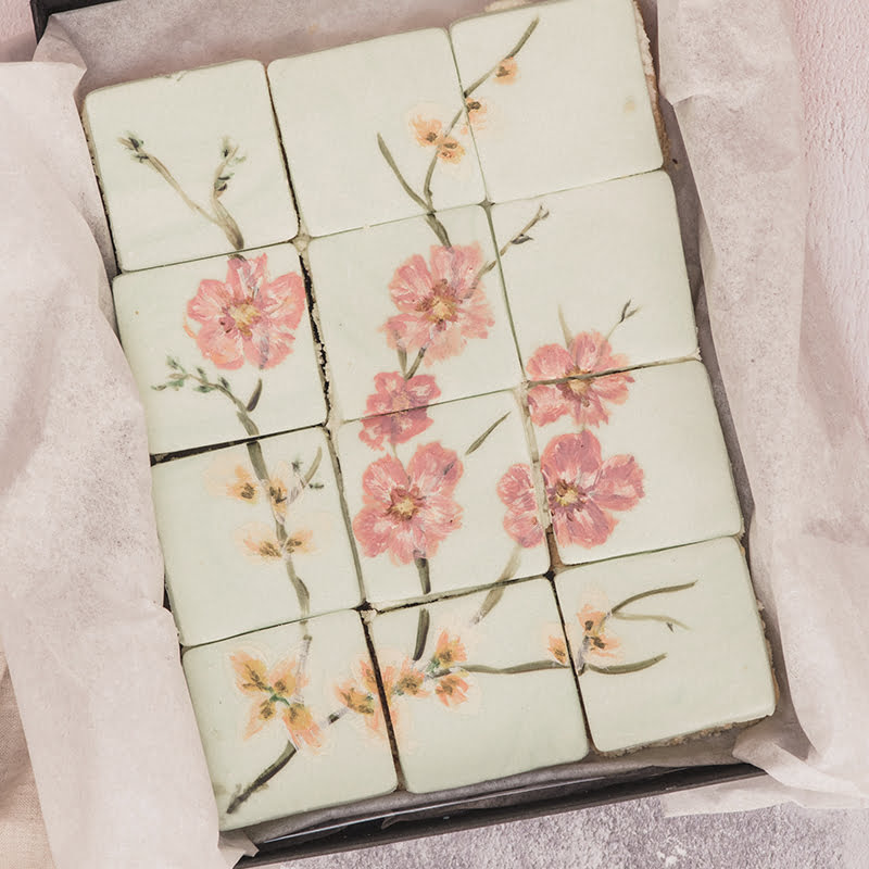 Hand Painted cherry blossoms in pink Birthday Cake by Post
