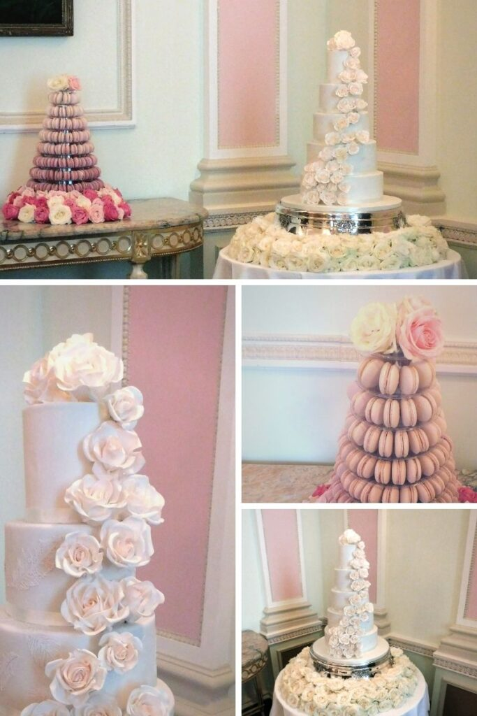 White sugar flower wedding cake and ombre pink macaron tower at The Ritz, London