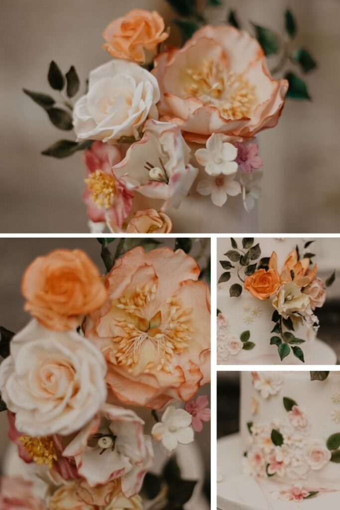 Details up close of the peach, pink and ivory sugar flowers at Chiddingstone Castle