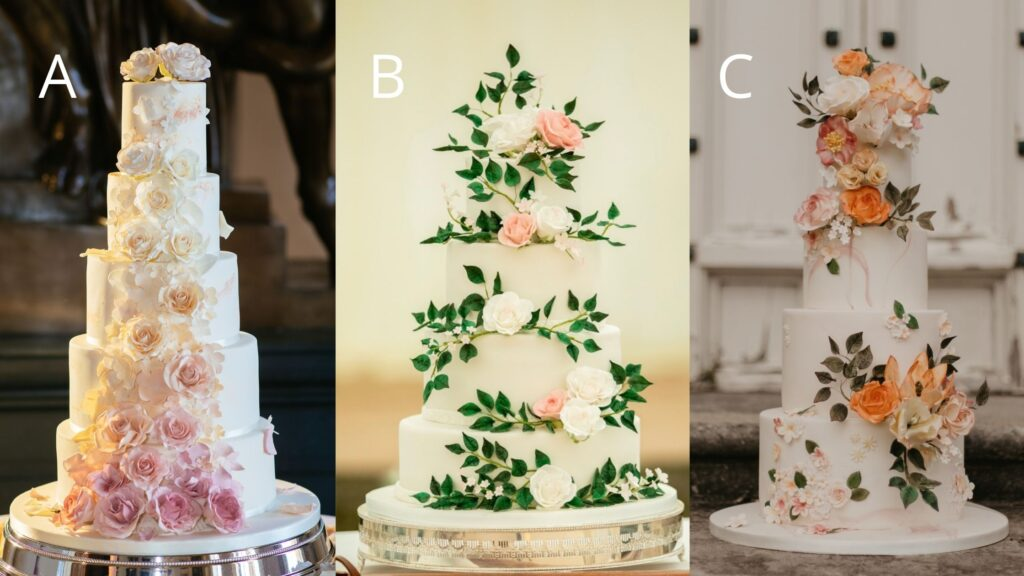 Three multi tier wedding cakes finished with sugar flowers showing how difficult it is to tell the difference between all real cake and dummy cakes
