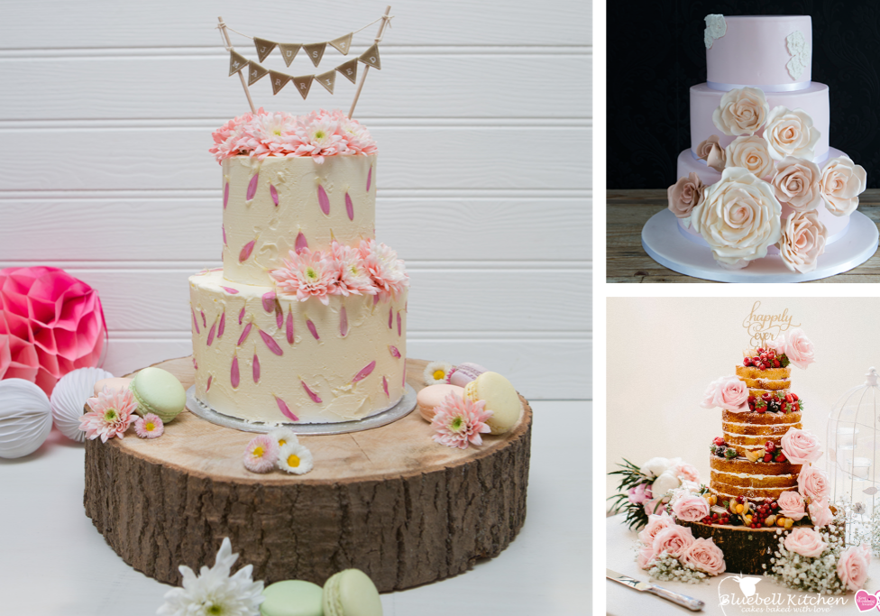 Buttercream and fondant wedding cake at Bluebell Kitchen