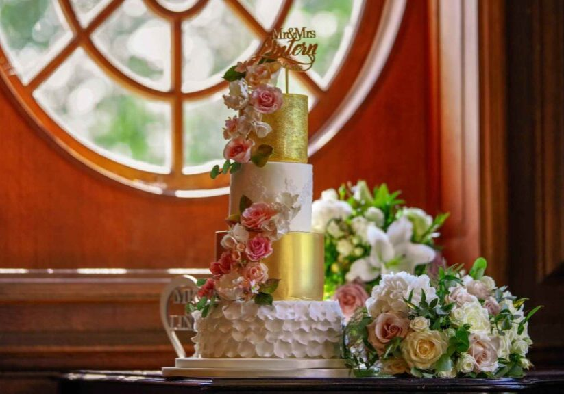 Four Tier Gold Lace Sugar Flower Wedding Cake in Blush Pink and Ivory